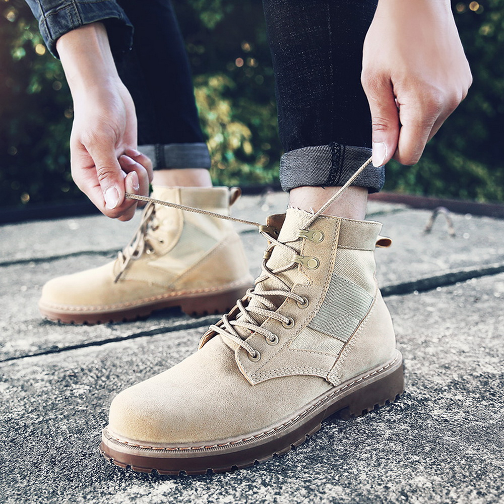 HEFLASHOR Men Military Boots Outdoor Fashion Canvas High Top Shoes Men Casual Shoes Ankle Boots Chelsea Boots Zapatos De Hombre