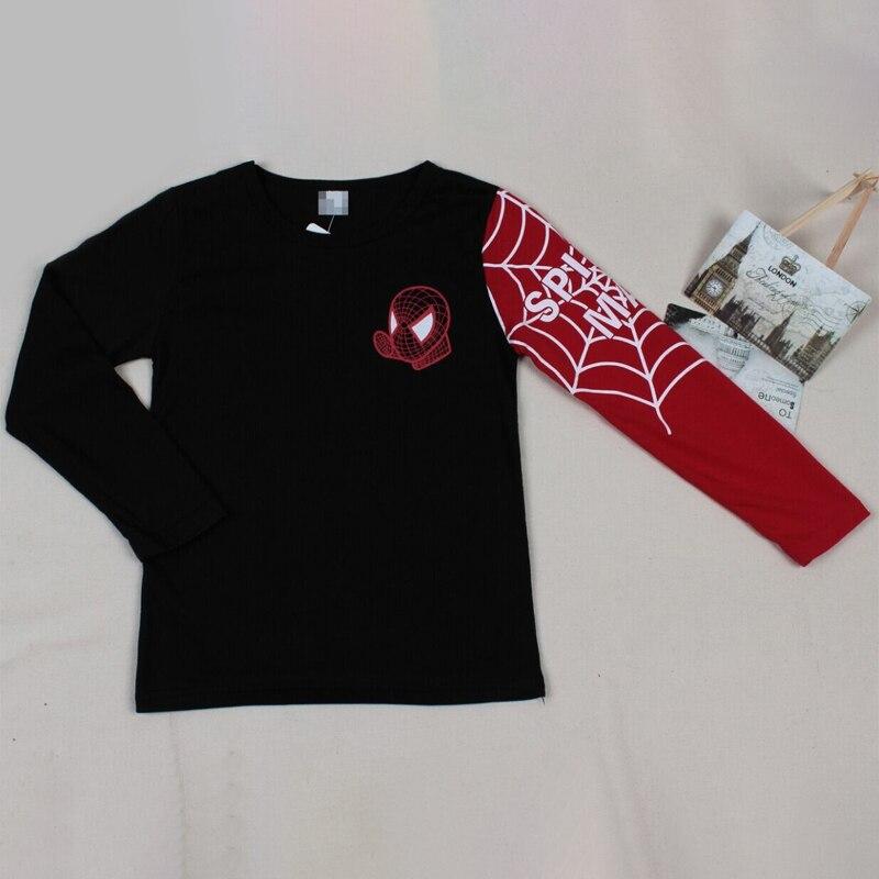 Футболки для маленьких мальчиков; детская футболка с длинными рукавами с рисунком Человека-паука; детская одежда в стиле пэчворк; сезон осень-весна; рубашка для мальчиков; Детские топы; футболки - Цвет: black