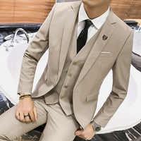 Men's 3 Piece Suit Blazer Slim Fit One Button Notch Lapel Dress Business Wedding Party Jacket Vest Pants & Tie Set