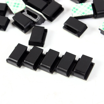 10pcs Black Car Wire Cord Clip Tie Clips Organizer Drop Adhesive Clamp Cable Holder image