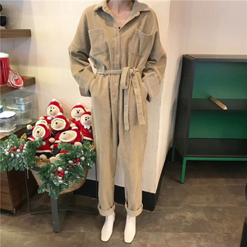 Vintage Corduroy Jumpsuit Women 2020 New Spring Autumn Long Sleeve Solid High Waist Sashed Rompers Causal Playsuit Khaki/black