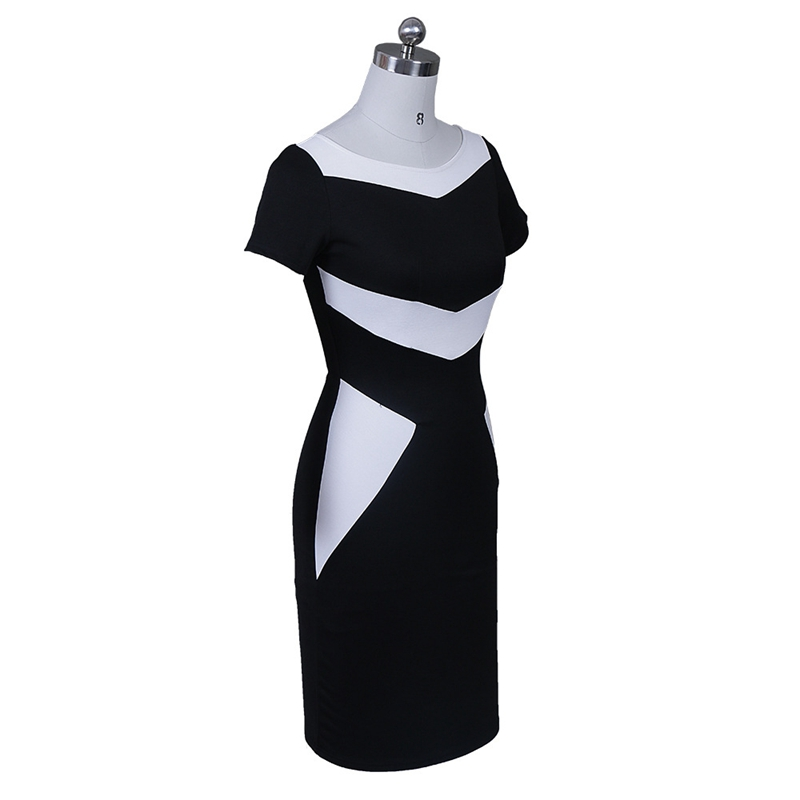 Women Elegant Patchwork Office Business Party Evening One Piece Dress Suit Mother of Bride Special Occasion Sheath Bodycon Dress