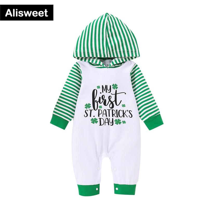 2021, зимние носки для новорожденных для маленьких девочек комбинезон для детей с полосатым топом и зеленой курткой-символа Дня Святого Патри...