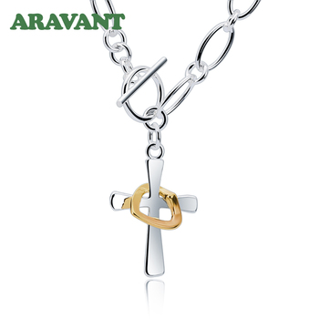 925 Silver Cross Pendant Necklaces For Men Silver Necklace Fashion Jewelry Accessories