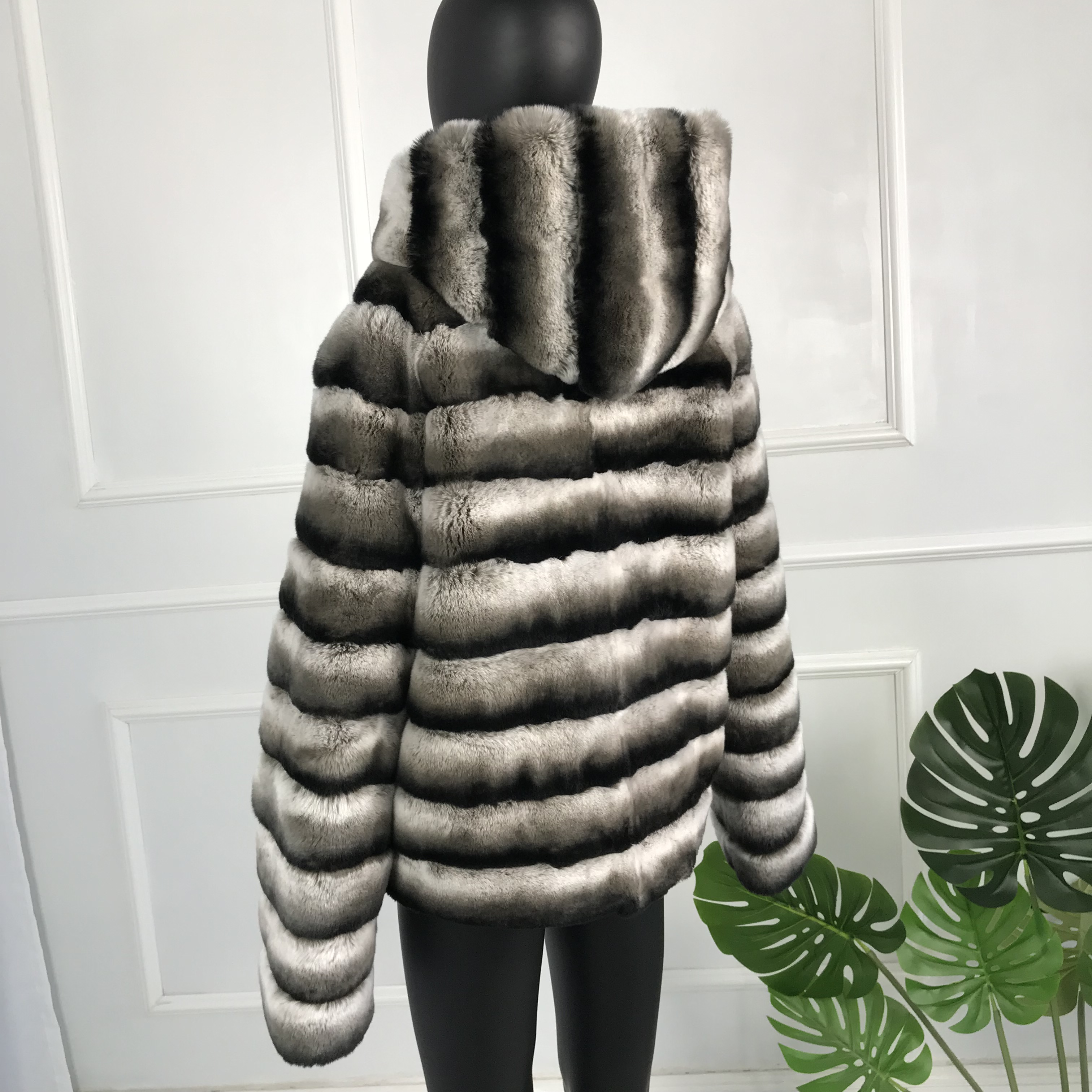 Striped Rex Rabbit Fur Coat Natural Black Grey Brown Outwear Real Fur Coat Jacket Thick Warm Medium Long With Hood Chinchilla Co