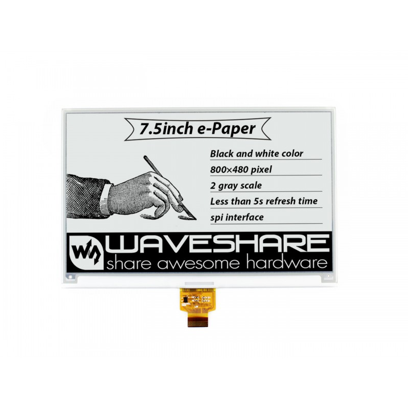 Waveshare 7.5inch E-Ink Raw Display Without PCB, 800*480E-paper Module,Two-color:Black White SPI Interface,No Backlight