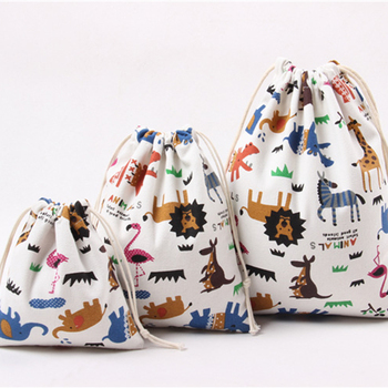 Drawstring Cartoon Animals Printed Storage Bags Organizer Cotton Linen Jewelry Cosmetic PouchBaby Clothing Kids toys Candy Bags image