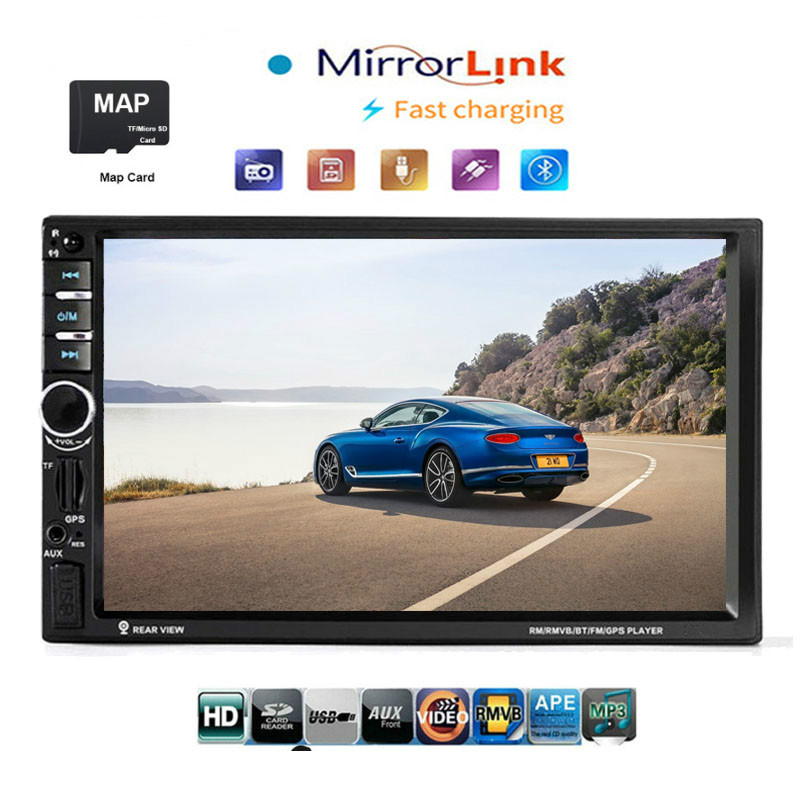 2din Gps Car Central Multimedia Autoradio Touch Screen Mirror Link Bluetooth <font><b>7020g</b></font> MP5 Player Automotivo Stereo Carro Pantalla image