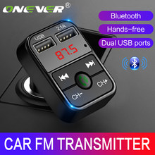Onever Bluetooth FM Transmitter Car MP3 Audio Music Player Dual USB Radio Modulator Car Kit HandsFree With 5V 2.1A USB Charger(China)