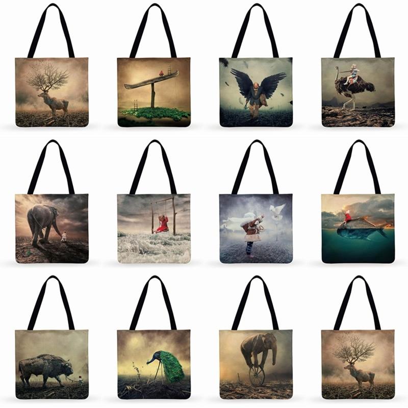 Складная сумка для покупок, Женский тоут с художественным принтом человека и природы, Повседневная Уличная пляжная сумочка-тоут на плечо