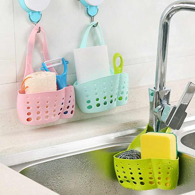 Rak Dapur Wastafel Penyimpanan Keranjang Adjustable Gesper Gantung Kran Sponge Saluran Penyimpanan Rak Dapur Keranjang Kamar Mandi Organizer