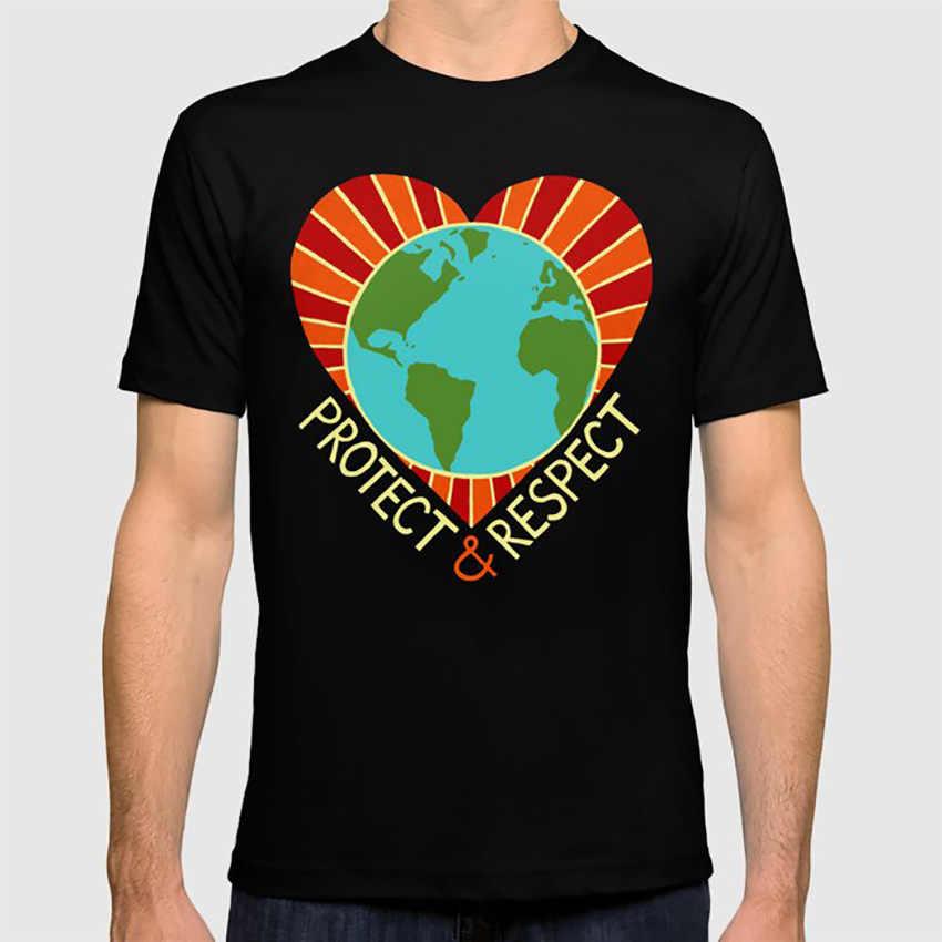 Proteger e respeitar t camisa terra mãe terra dia da terra ambiente coração resistir globo minimalismo design abstrato