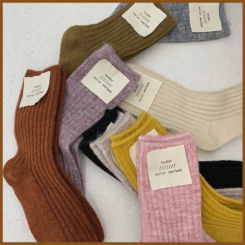 Authentic Of South Korea Style Solid Color WOMEN 'S Socks