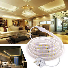 UK Plug 220V IP67 Waterproof LED Strip Light Safety High Brightness Flexible Indoor Outdoor Lighting Rope Home Decor Light D30