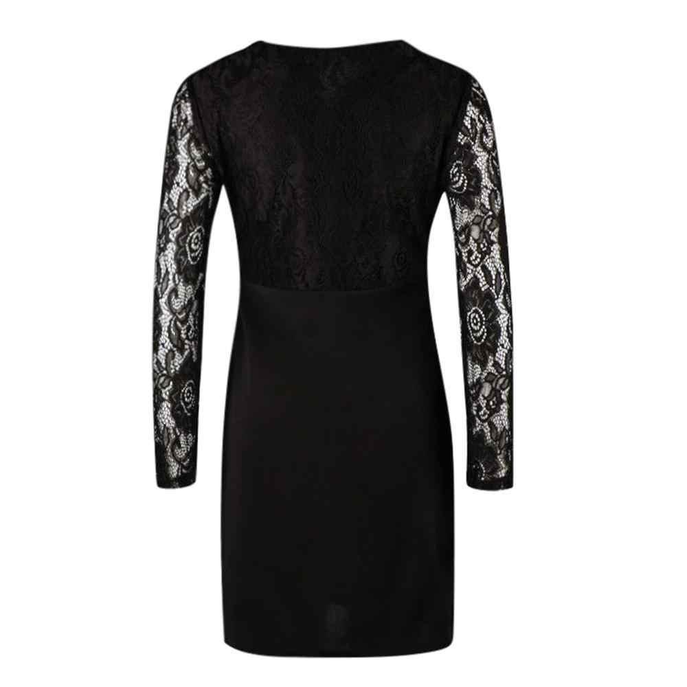 أسود مثير الخامس الرقبة بوديكوم فستان ضيق المرأة موضة كم طويل الدانتيل المرقعة الركبة طول فستان حفلة موسيقية 2020