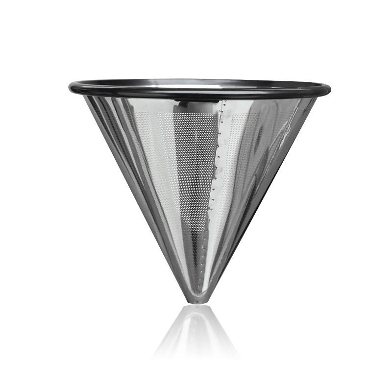 Hot Reusable Coffee Filter Stainless Steel Holder Metal Mesh Funnel Baskets Coffee Filters Dripper  Drip Coffee Filter Cup