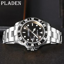 PLADEN kwarcowe zegarki męskie Top Business zielona wodoodporna stal nierdzewna męski zegarek na rękę luksusowy Luminous Auto data Dive Clock