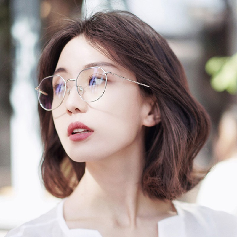 Reading Rose Gold Glasses Women Classic Man Retro Anti-Blue Light Square Metal Flat Mirror Eyewear