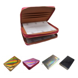 96 ranuras Placa de estampación para uñas soporte caja Arco Iris láser estilo Rectangular manicura uñas arte placa organizador con cremalleras dobles
