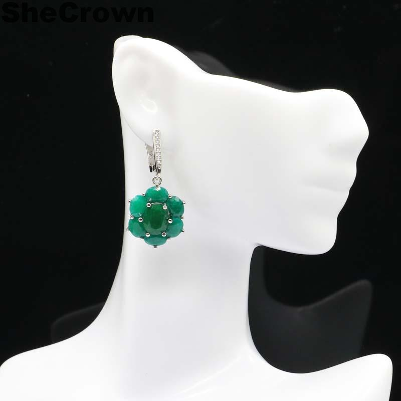 38x17mm Jewelry Set Gorgeous SheCrown Real Green Emerald CZ Gift For Woman's Silver Pendant Earrings