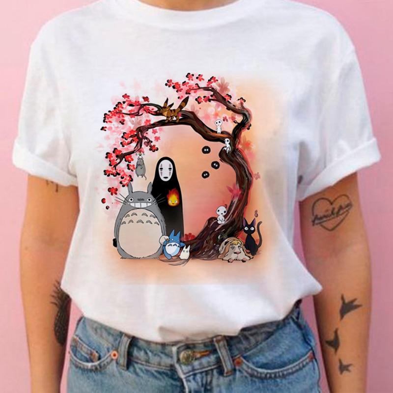 Hayao Harajuku T Shirt Women Studio Ghibli Totoro Miyazaki Ullzang Graphic T-shirt Funny Cartoon Tshirt 90s Anime Top Tee Female