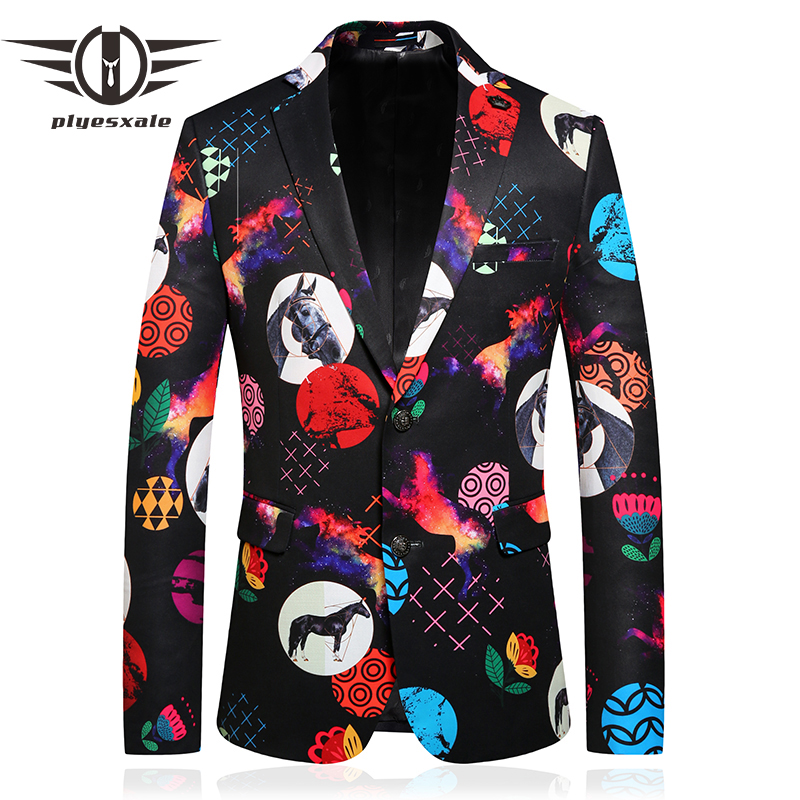 Plyesxale Fashion Horse Floral Pattern Mens Print Blazer Jacket Autumn Colorful Fancy Man Blazer Party Prom Wedding Blazers Q791