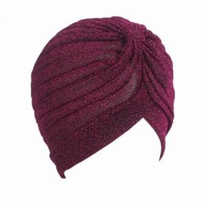 Image 5 - Helisopus 2020 Women Fashion New Shiny Turban Stretchable Soft Bright Hat Muslim Style Hijab Turban Head Wraps