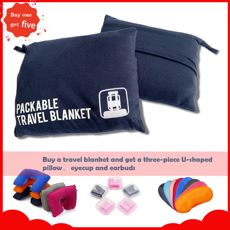 Compact Airplane Travel Blanket Pillow Folds Soft Lightweight Blanket Included Sleeping Mask Packed In Bag With Backpack Clip