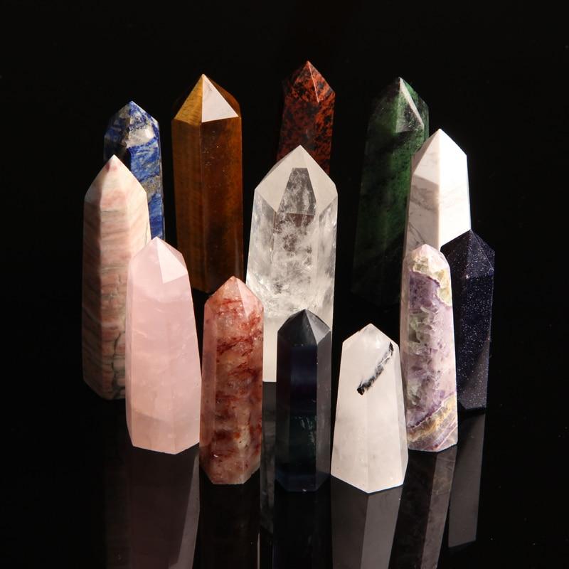 1 шт. натуральный аметист, Хрустальный точечный розовый кварц, обелиск, энергетическая палочка, камень, шестигранная колонна, минеральное ук...