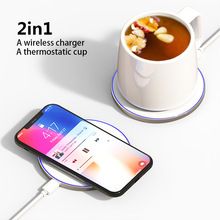 2in1 Qi Wireless Charger Thermostatic Cup For Xiaomi Mi 9 Samsung S10 Phone Accessories Charger For iphone 8 11 max Qi Charger