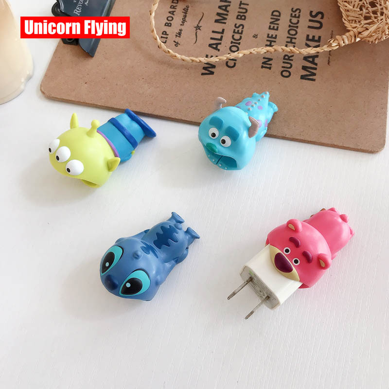LinXiang Strawberry Bear Stitch Sulley Bites USB Plug Cover Phone Charger Protector For I Phone Original 5V1A Charger Plug