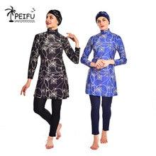PEIFU 2020 new ladies printed floral Muslim swimwear headscarf Islamic Islamic swimwear swimming surfing Burkinis 3-piece suit