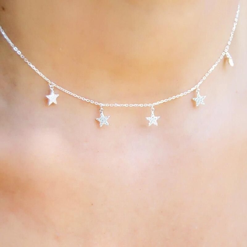 Multi Layer 925 Sterling Silver Delicate Chain Choker Charm Necklace Statement Collar Trendy Fashion Fine Silver Necklaces