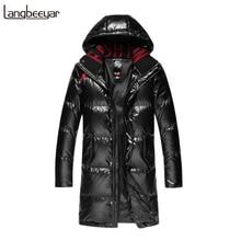 Топ класс 90% утиный пух зимний модный длинный пуховик для мужчин s водонепроницаемый уличная пуховая куртка с капюшоном Теплая мужская одежда