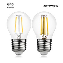 Bombilla LED E27 E14 G45 AC 220V 2W 4W 6W 8W de cristal LED del bulbo de la bola lámpara Edison antigua Retro Vintage Led Luz de filamento