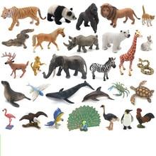 Zoo Animals Model Simulation Mini Wild Panda Tigers Lions Giraffe Animal Figurines PVC Action Figure Toy For Kids цена 2017