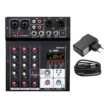BMG-04A Sound Audio-Mixer Mixing Console 4 channel Audio Interface 24 kinds DSP Effects / 48V Phantom Power USB Bluetooth MP3 - EU Plug