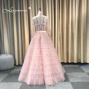 Image 5 - Leeymon Pink Ruffle Tulle Evening Dress High Neck Long Sleeves Embroidery beaded Vestido de Noche Formal Dress