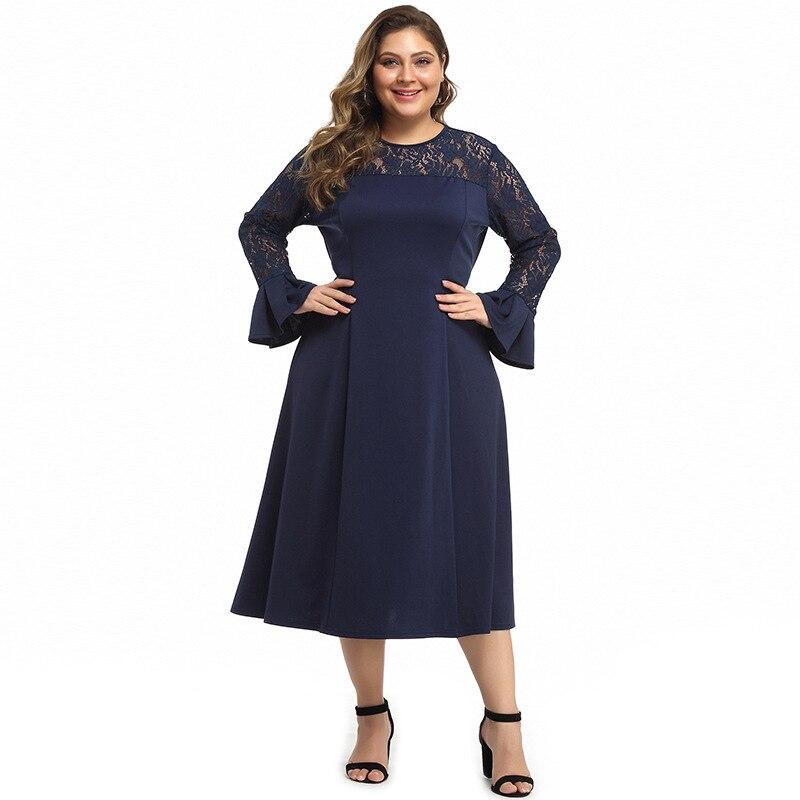Elegant Navy Blue Mother Of The Bride Dresses A-Line Full Sleeve O-Neck Tea-Length Lace Wedding Party Gowns Vestidos De Novia