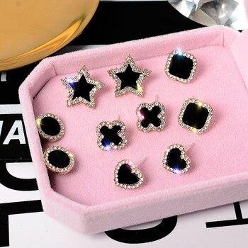 FSUNION 2020 New Arrival Fashion Cute Korean Earrings Heart Bling Zircon Stone Rose Gold Stud Earrings For Women Jewelry Gift