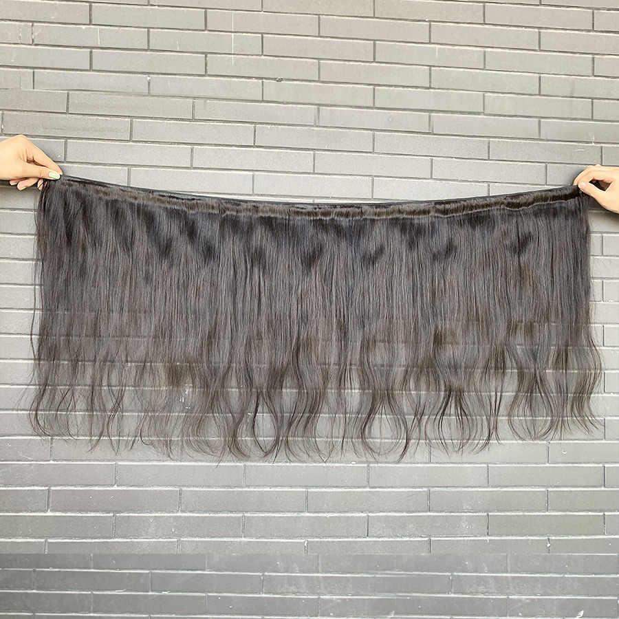 Wigirl 28 30 Inç 3 4 Fırsatlar Doğal Düz Ham Hint işlenmemiş insan saçı Demetleri Çift Çizilmiş Uzatma Işlenmemiş Örgüleri
