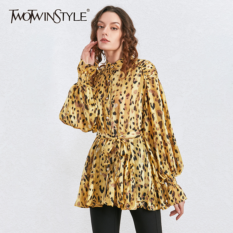 TWOTWINSTYLE Bowknot Vintage Print Shirt For Women Stand Collar Lantern Sleeve Lace Up Shirts Female Autumn New Fashion 2020