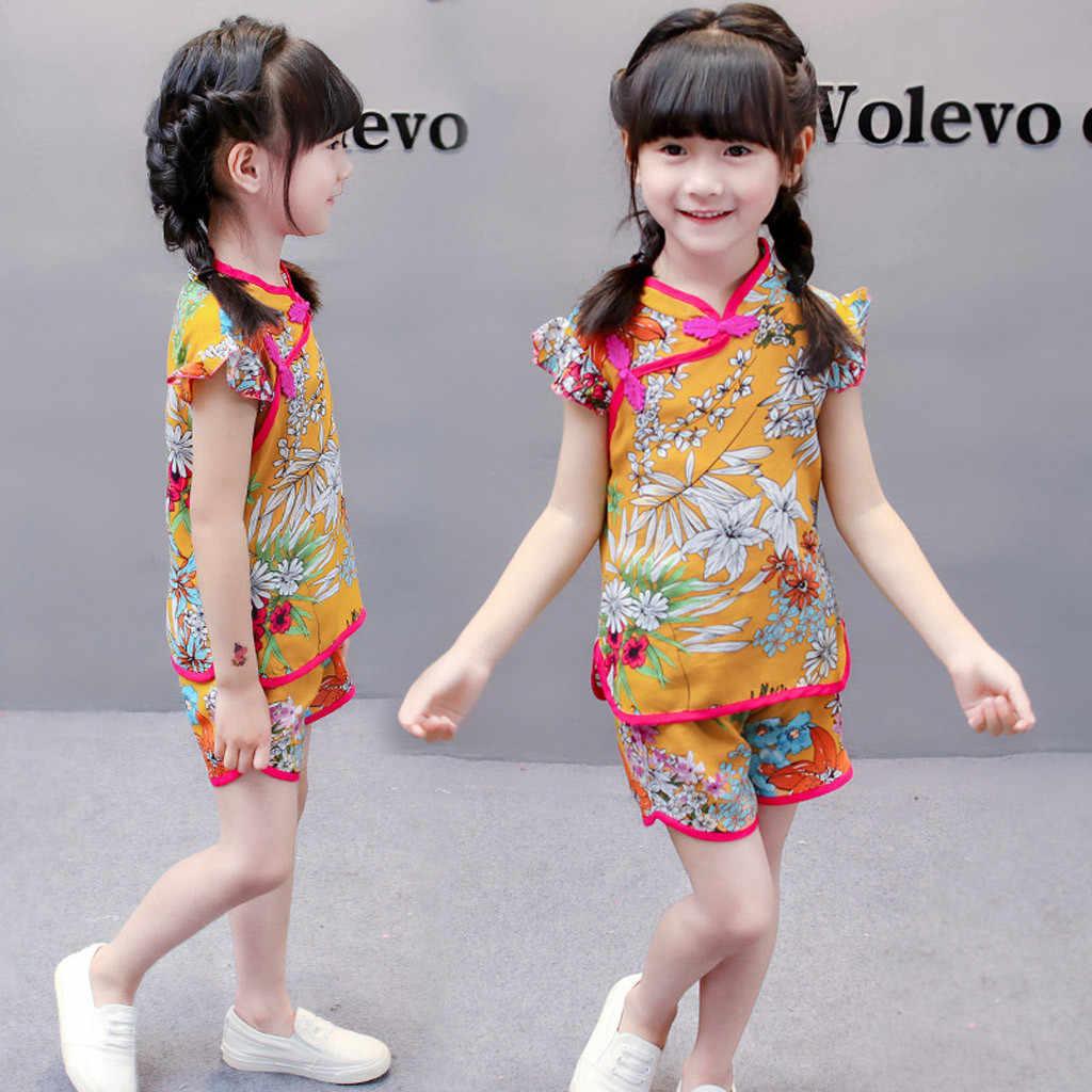 Fly Mouw Peuter Cheongsam Outfits Kids Baby Meisjes Bloemenprint Tops T-shirt Shorts Zomer Off Shoulder Kleding Set 2020