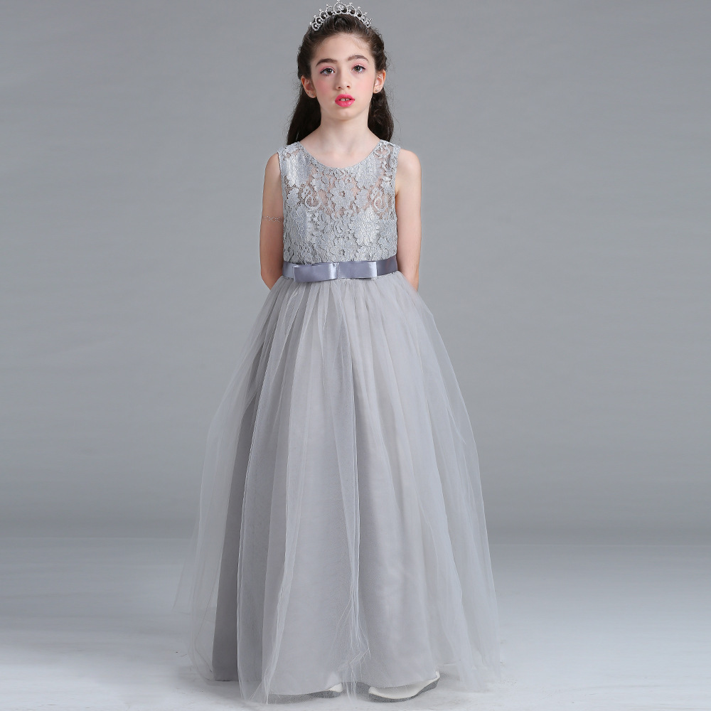 2019 New Arrival Lace Tulle Puffy Princess   Flower     Girl     Dress   Suit for Over 8T Children   Girl