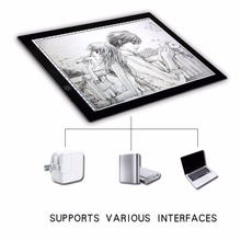 Portable A3 LED Light Pad Box Drawing Copy Board Drafting Graphics Tablet Table Panel with Brightness Control