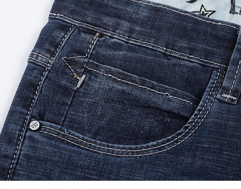 Short Mens Jeans Brand Ripped Biker Jeans Men Shorts Denim Pants Elastic Dark Blue Streewear Frayed