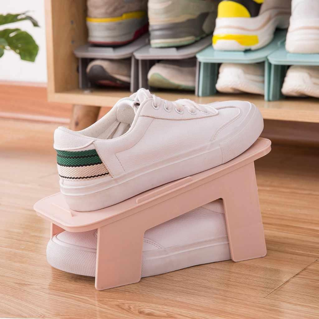 طوي أداة تنظيم الأحذية الأحذية مكدس الفضاء توفير رف شاشة الأحذية