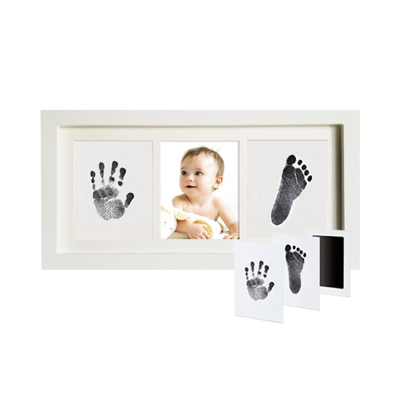 Baby Handprint Kit Footprint Photo Frame For Newborn Girls And Boys Unique Baby Shower Gifts Set Memorable Keepsake Box