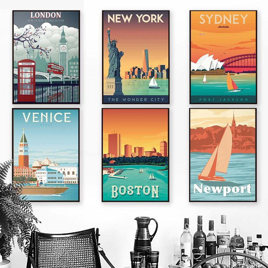 Toile dart murale Vintage | Paris, londres, New York, Tokyo, toile, affiches et imprimés nordiques, images murales, décor pour salon