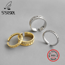 S'STEEL Gold Foil Ring 925 Sterling Silver Rings For Women Bague Argent Massif Pour Femme Joyas De Plata Accessories Jewelry
